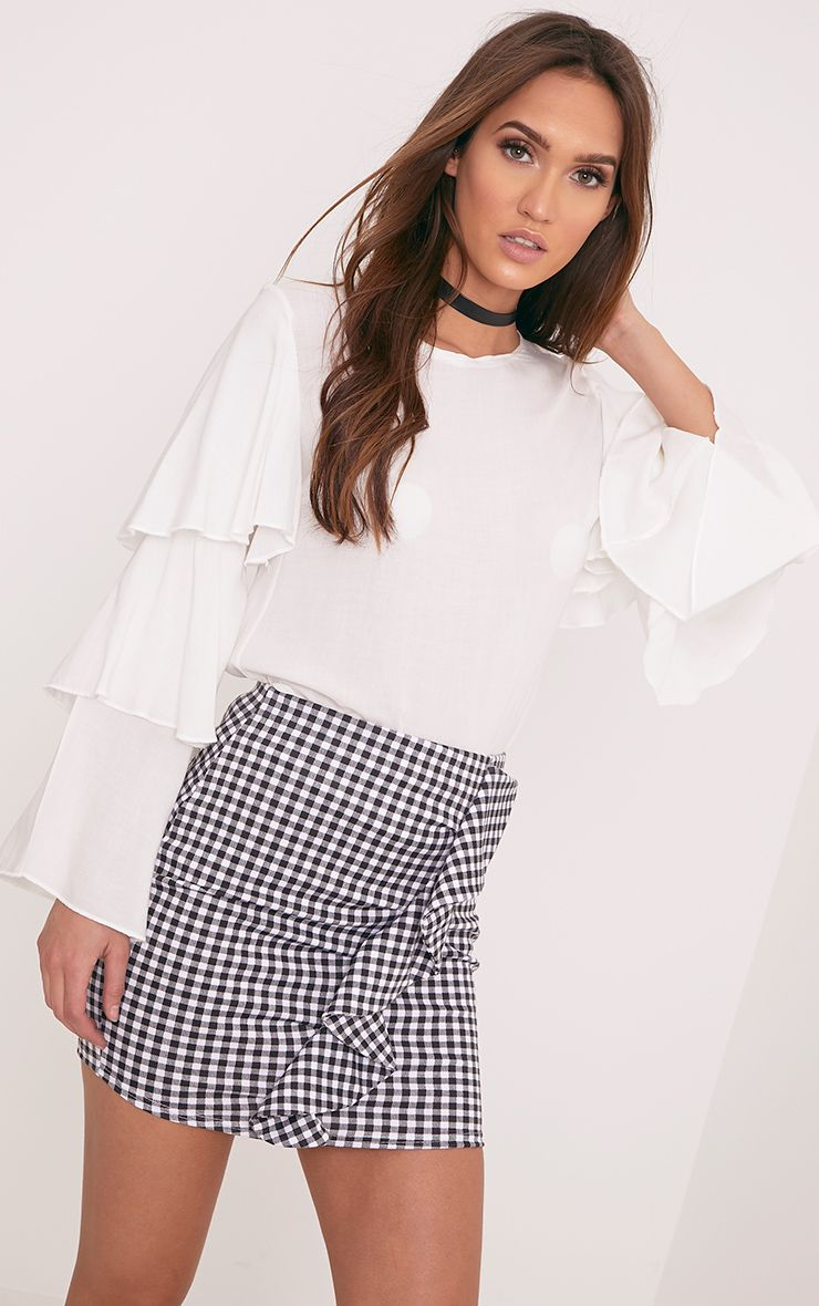 Kiana White Gingham Ruffle Mini Skirt