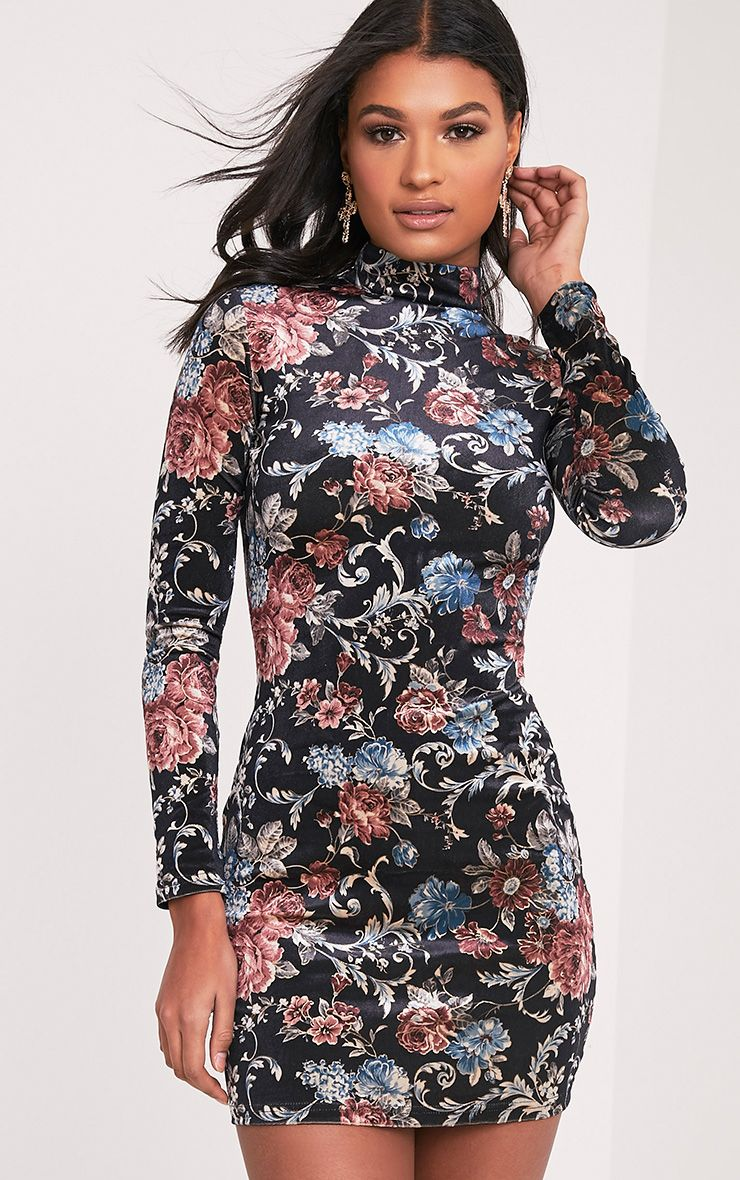 Kirah Black High Neck Floral Velvet Bodycon Dress