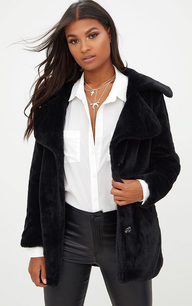 Black Mid Length Faux Fur Coat