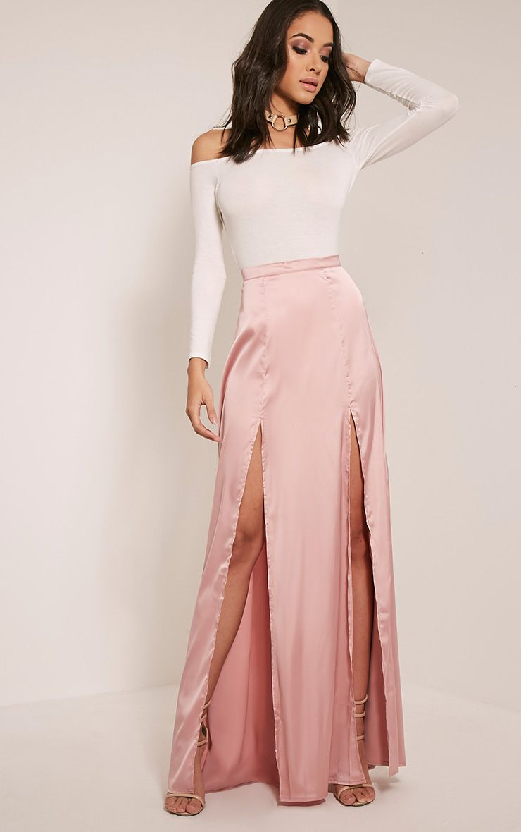 Marina Blush Satin Split Maxi Skirt 1