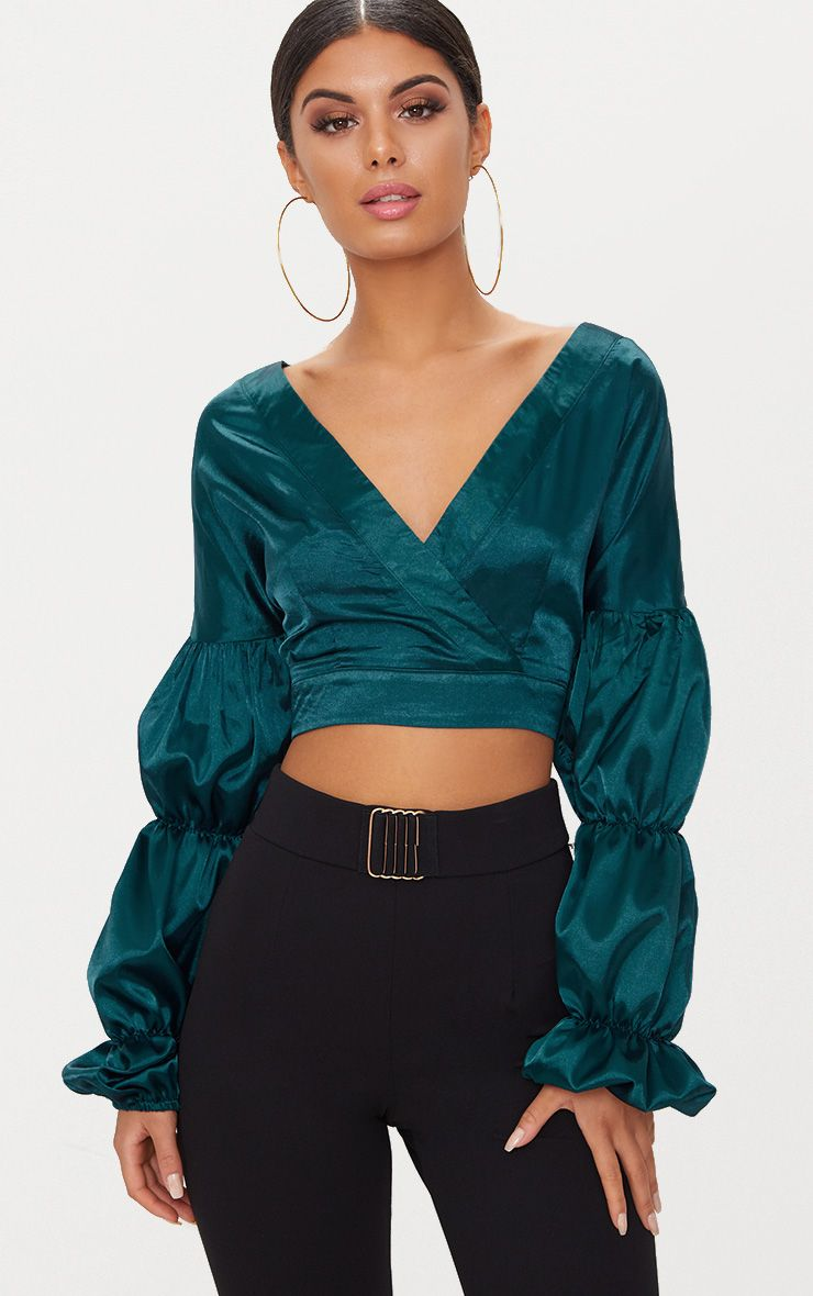 Emerald Green Puff Sleeve Tie Waist Satin Blouse
