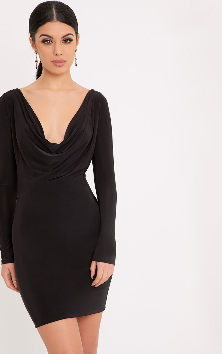 Celestia Black Cowl Neck Bodycon Dress