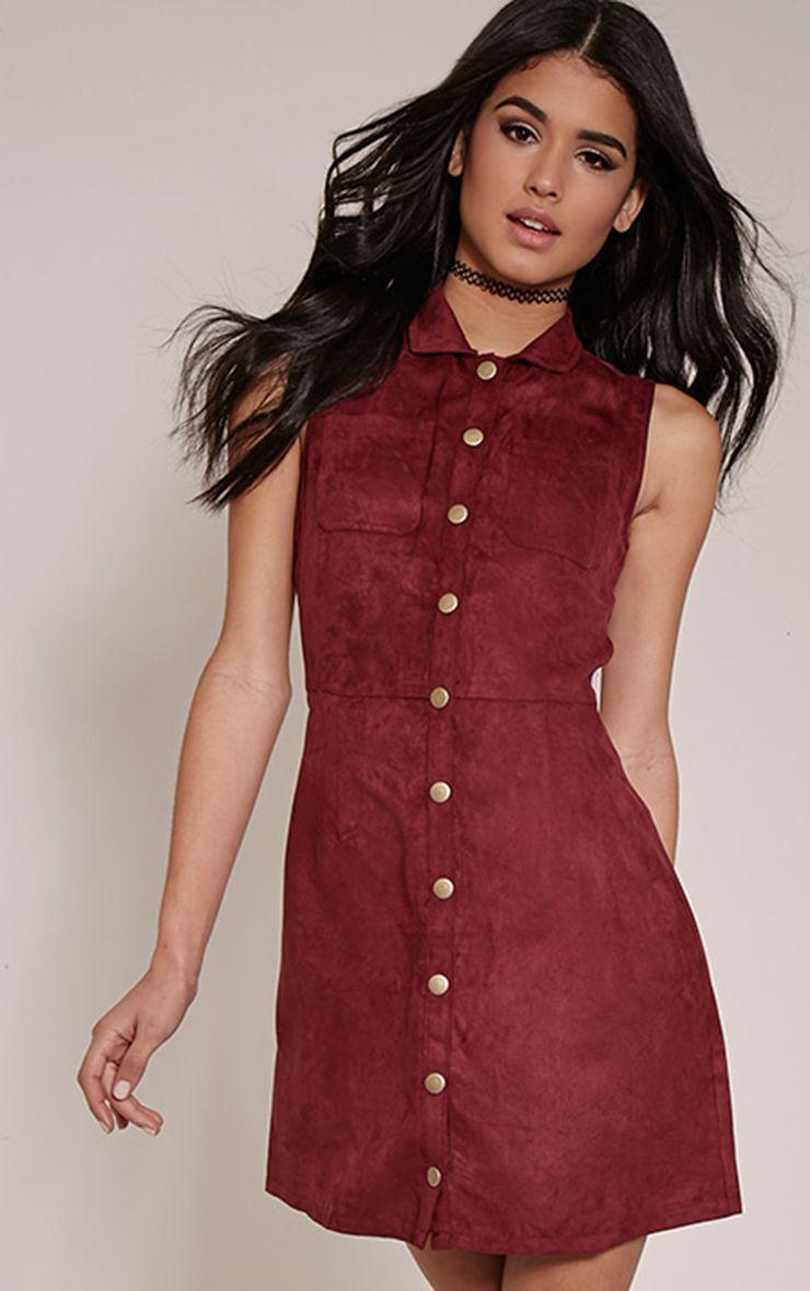 Maisy Plum Button Down Faux Suede Pinafore Dress 1