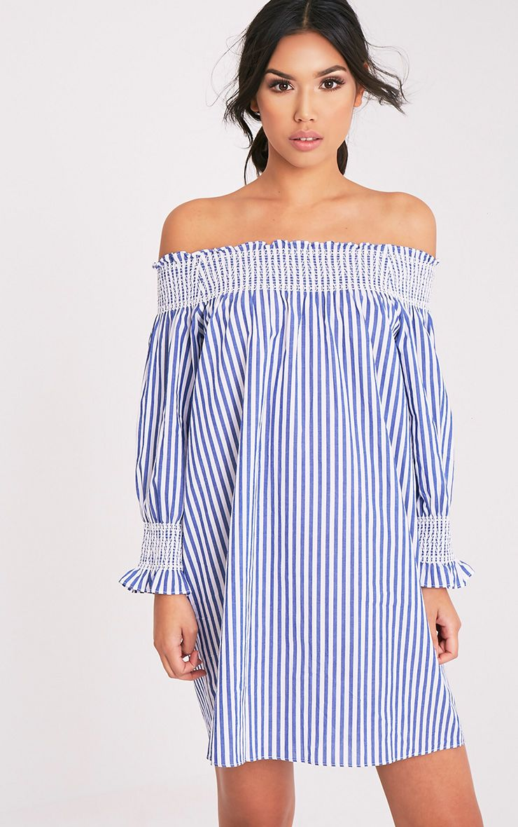 Savannah Blue Striped Bardot Swing Dress