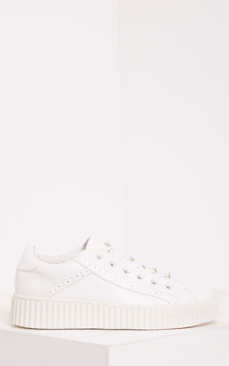 Lorena White PU Creeper Trainers