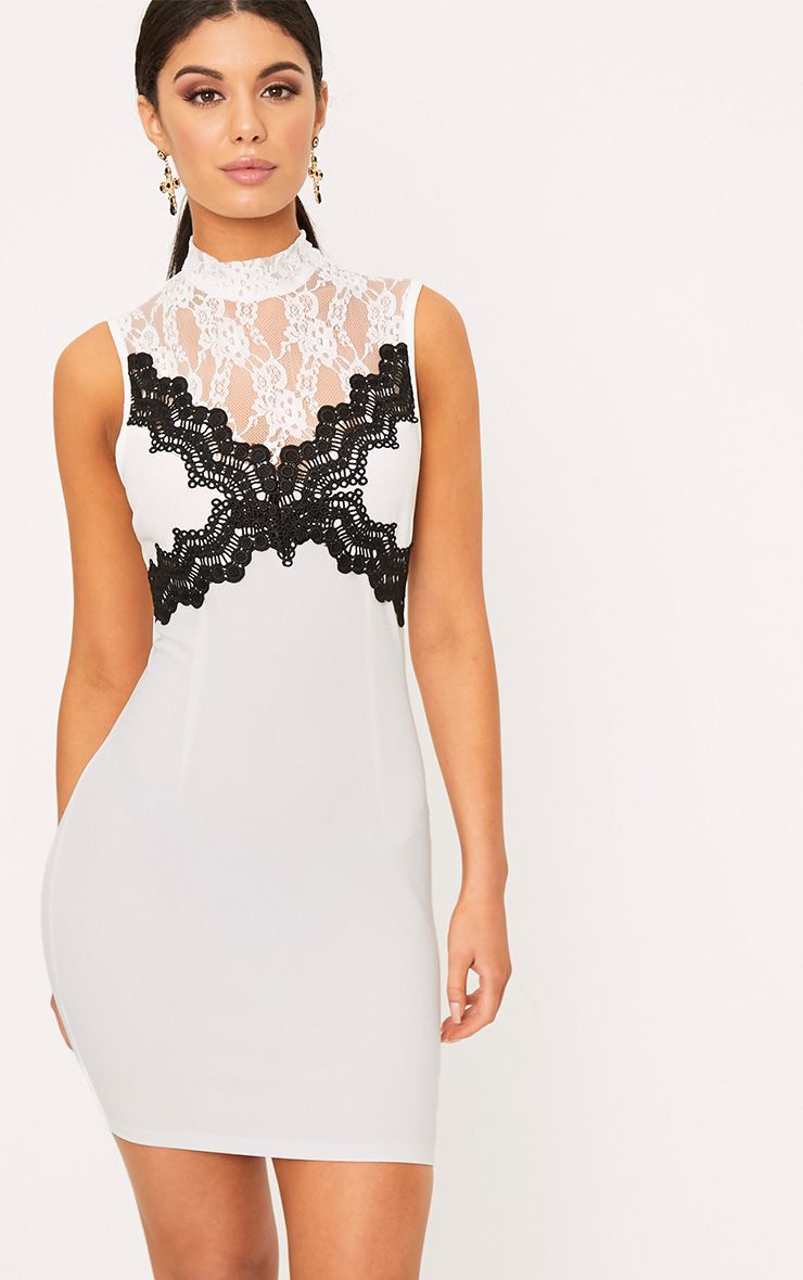 Zendana White High Neck Contrast Lace Bodycon Dress