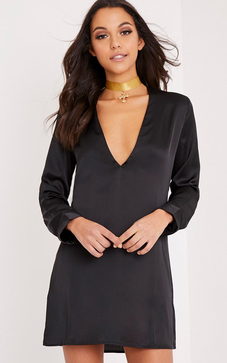Reneah Black Silky Plunge Shift Dress