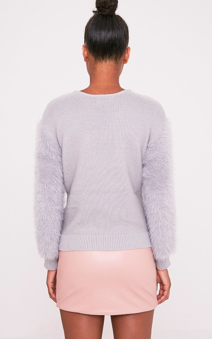 Rene Grey Fluffy Sleeve Fine Knit Jumper 2