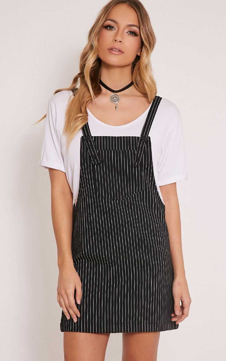 Adyna Black Knitted Pinstripe Pinafore Dress 1