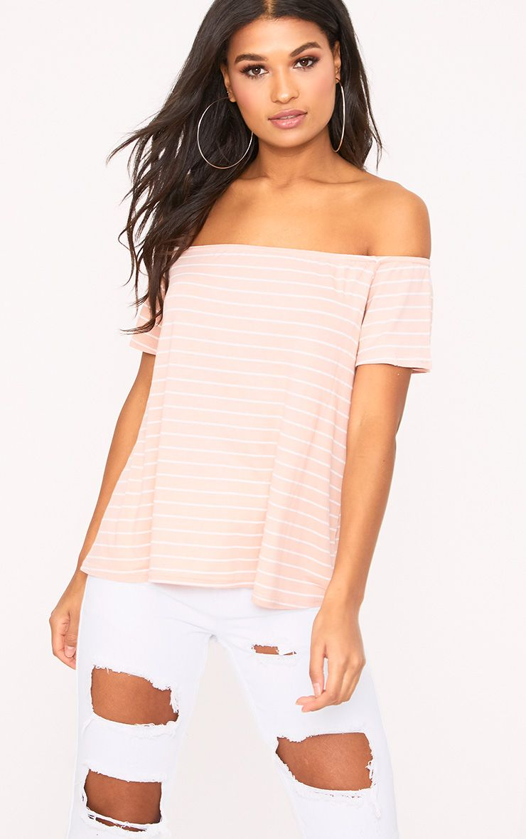 Pink Stripe Bardot Top
