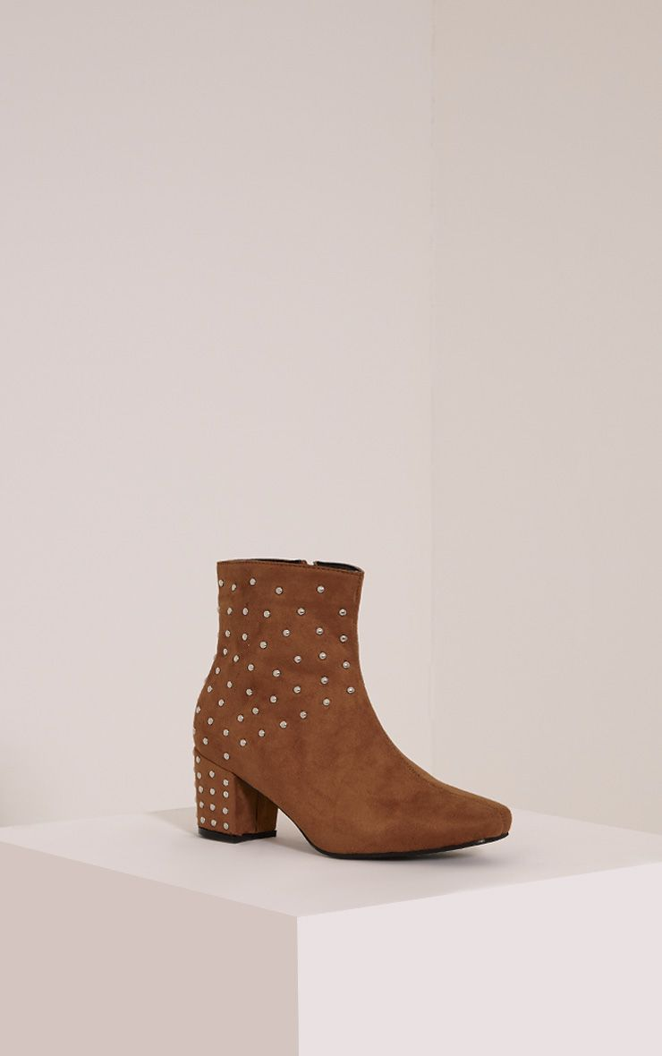 Kendal Tan Faux Suede Studded Ankle Boots