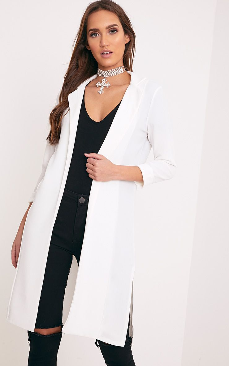 Fayela Ivory Split Detail Duster Coat