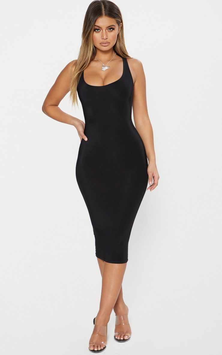 Black Second Skin Double Layered Slinky Scoop Neck Midi Dress