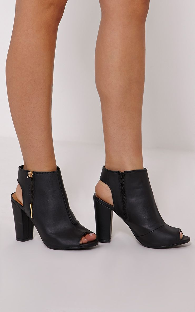 Liza Black Peeptoe Ankle Boot 1