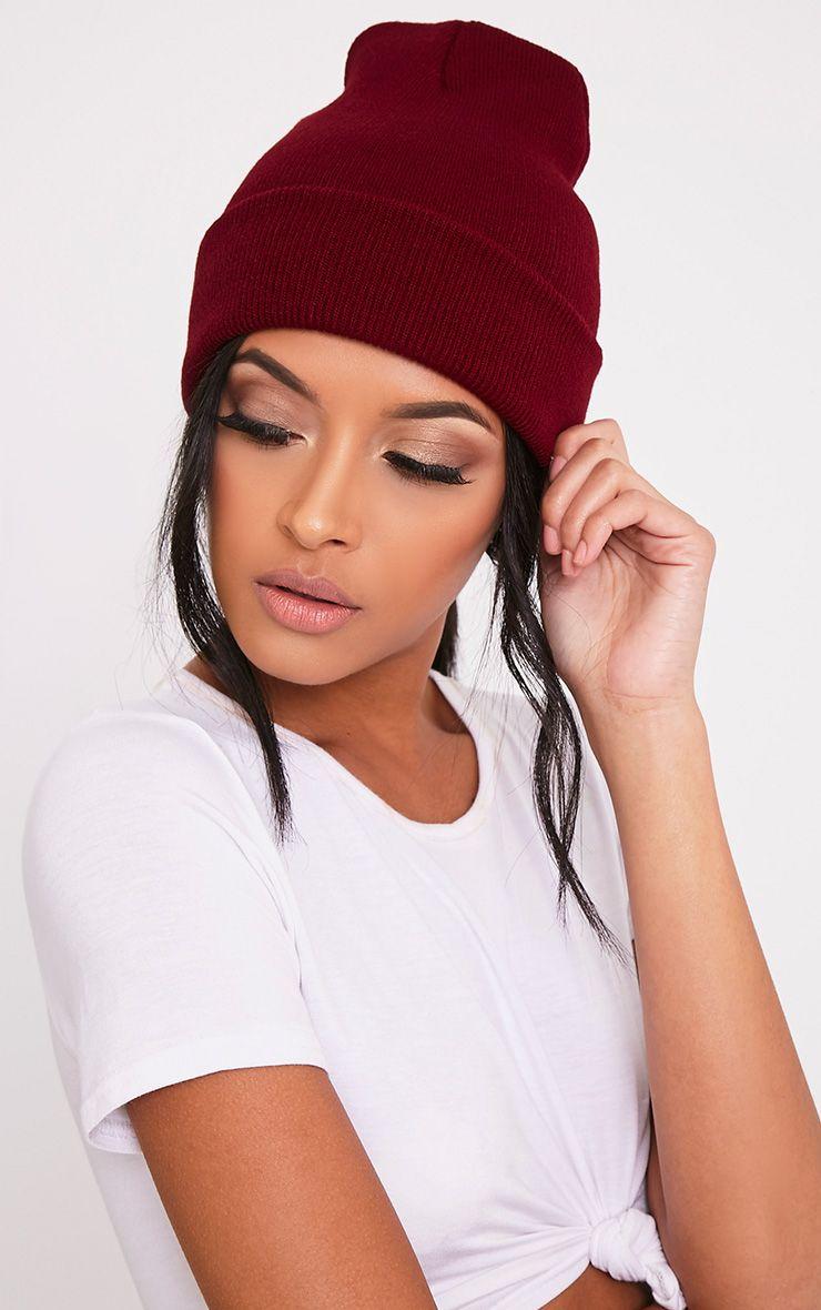 Pollee Burgundy Beanie Hat