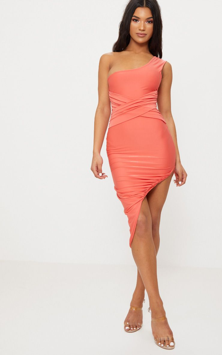 Coral Double Layer Slinky One Shoulder Ruched Detail Midi Dress