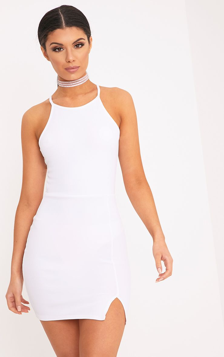 Aniqah White High Neck Split Detail Bodycon Dress