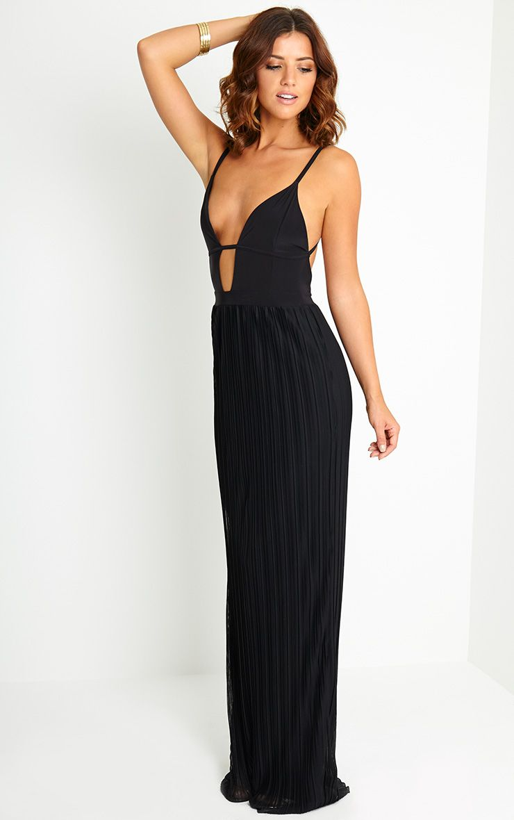 Hanna Black Plunge Pleated Maxi Dress 1