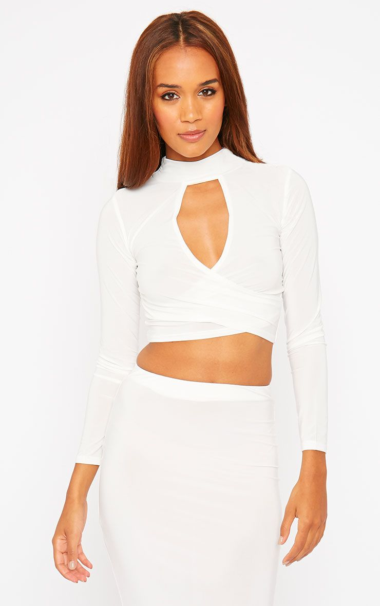 Siobhan Cream Slinky High Neck Open Front Crop Top 1