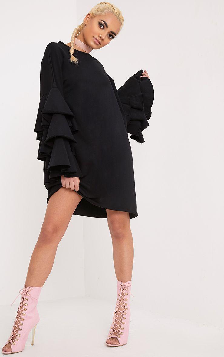 Daizy Black Frill Sleeve Sweater Dress