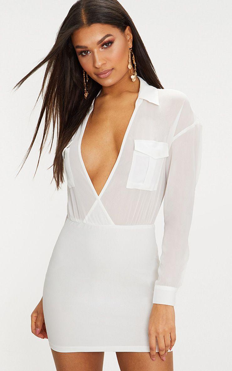 White Sheer Top Utility Bodycon Dress