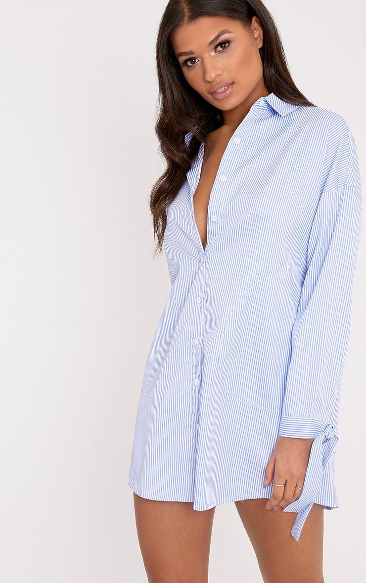 Talullah Blue Pinstripe Cuff Detail Shirt Dress