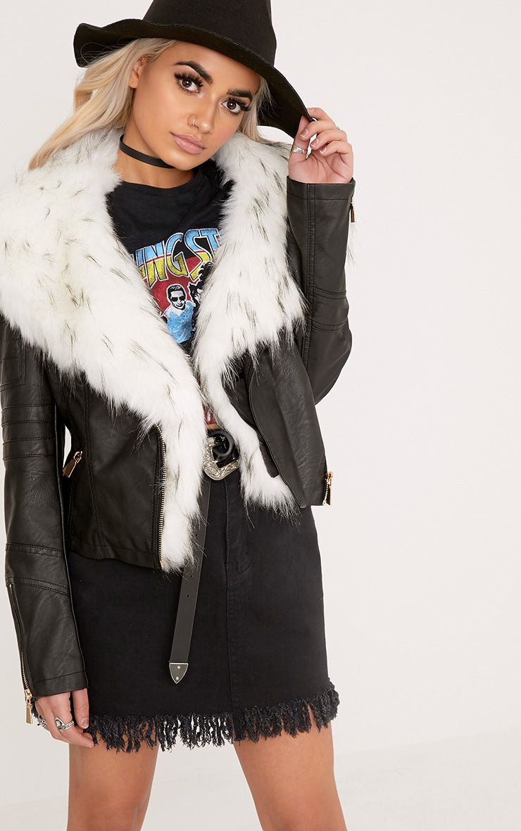 Addyson Black Tipped Faux Fur Collar Pu Biker Jacket