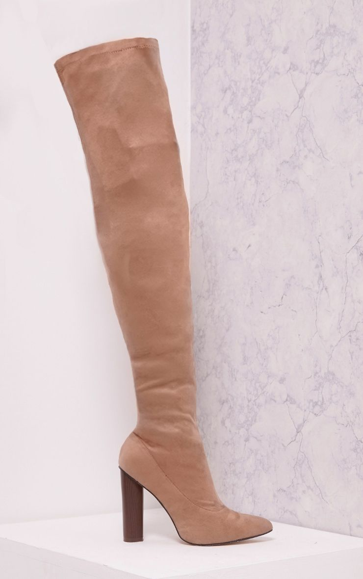 Tonya Nude Suede Thigh High Heeled Boots
