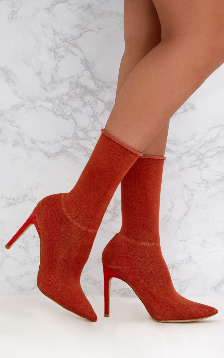 Orange Knitted Sock Heels