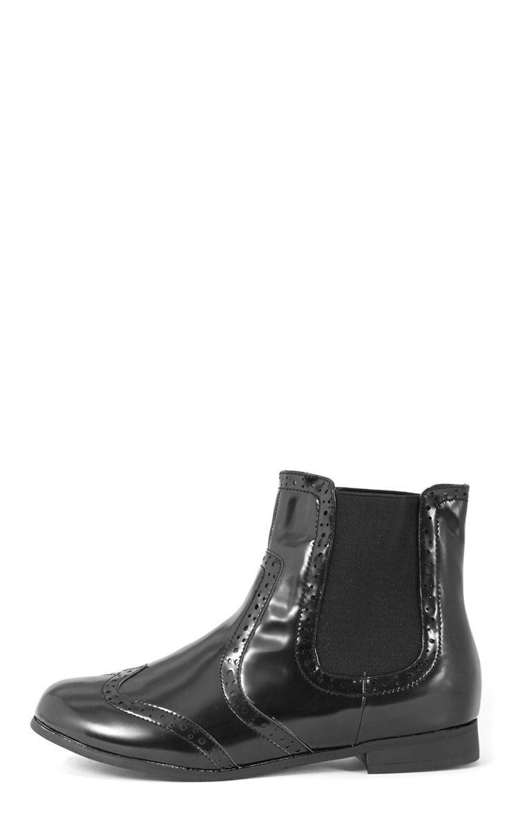 Glenna Black Patent Chelsea Boot  1