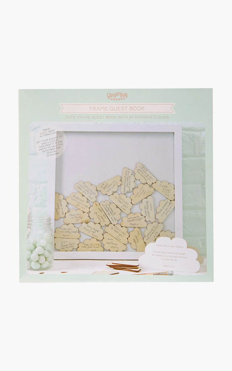 White Baby Shower Guest Book Drop Top Frame