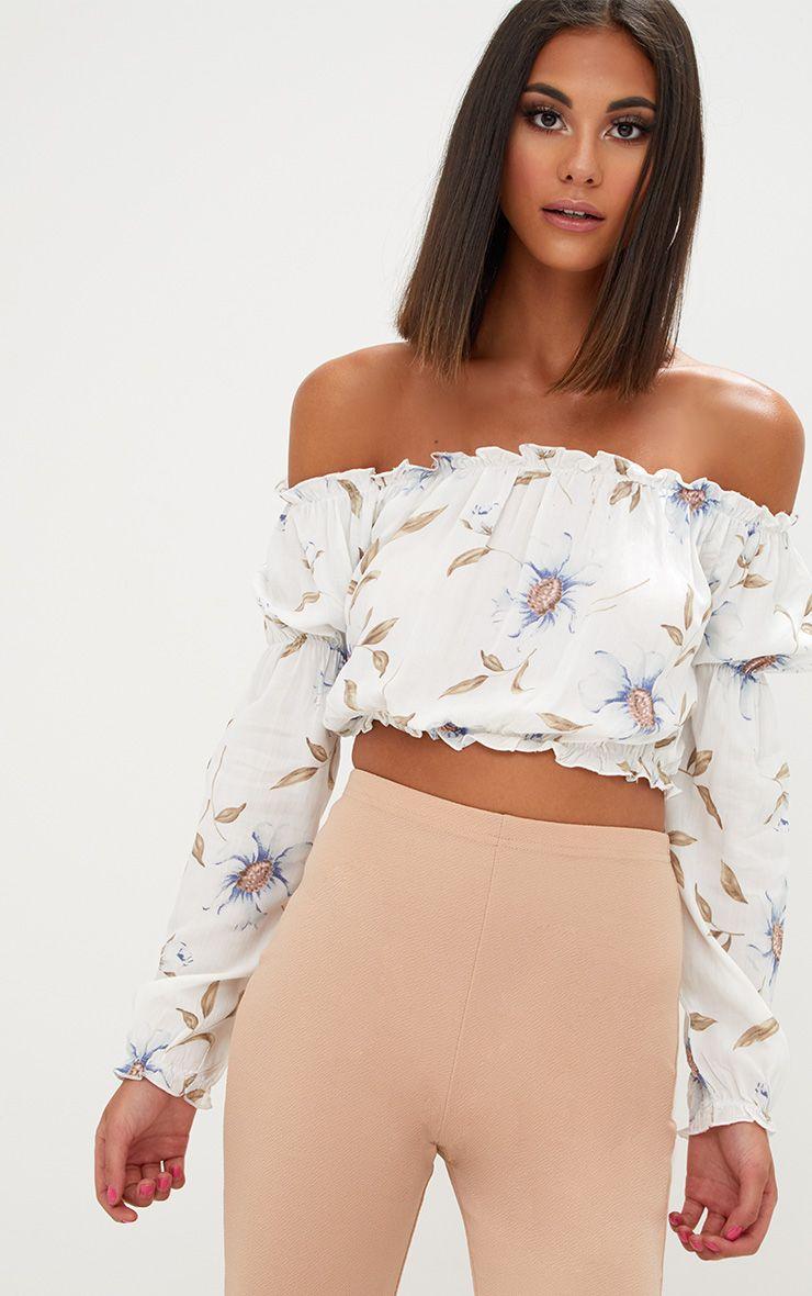 Cream Floral Print Bardot Longsleeve Crop Top