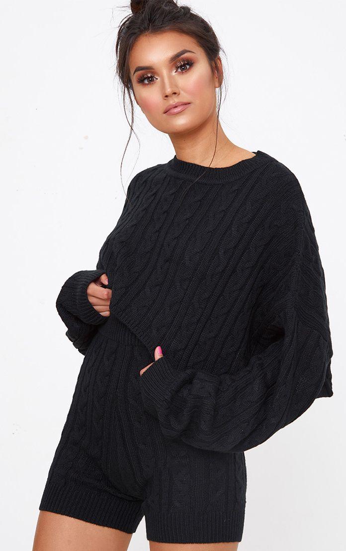 Black Knit Short