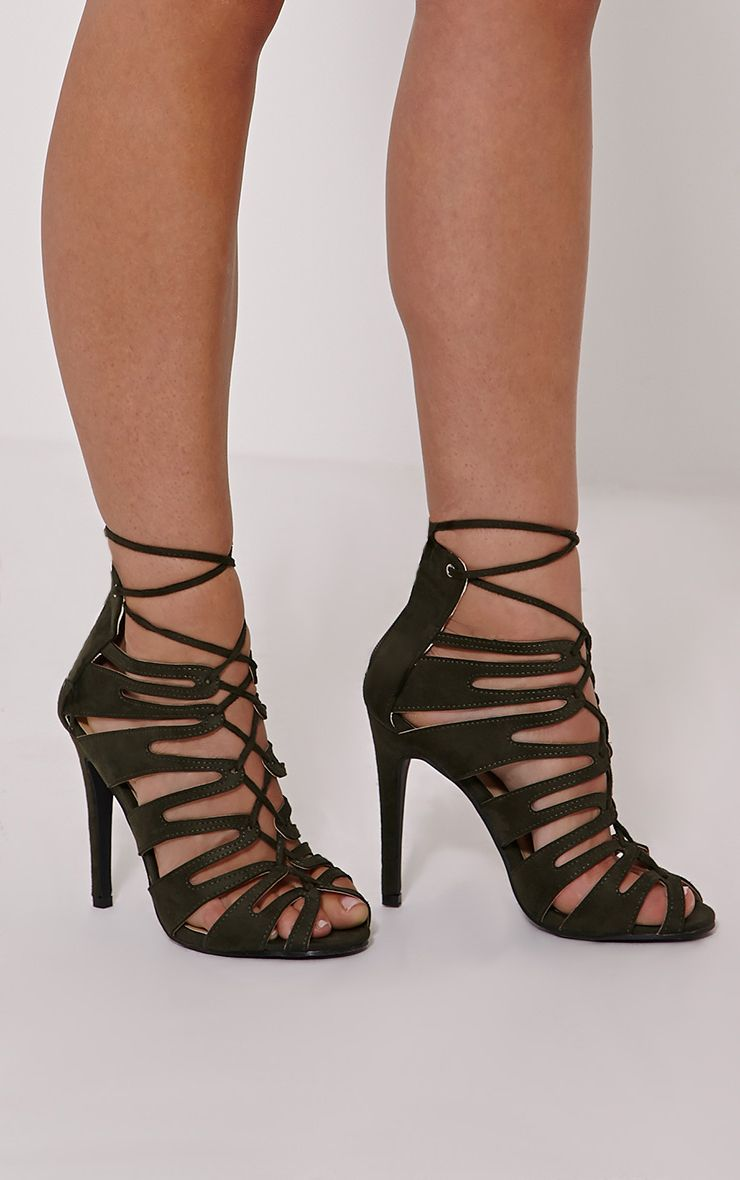 Lizeth Khaki Cut Out Heeled Sandals 1