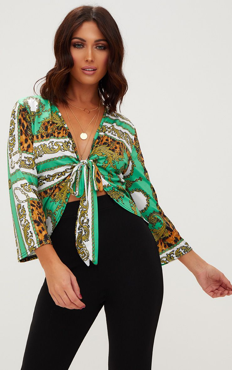 Green Chain Print Tie Front Peplum Hem Blouse