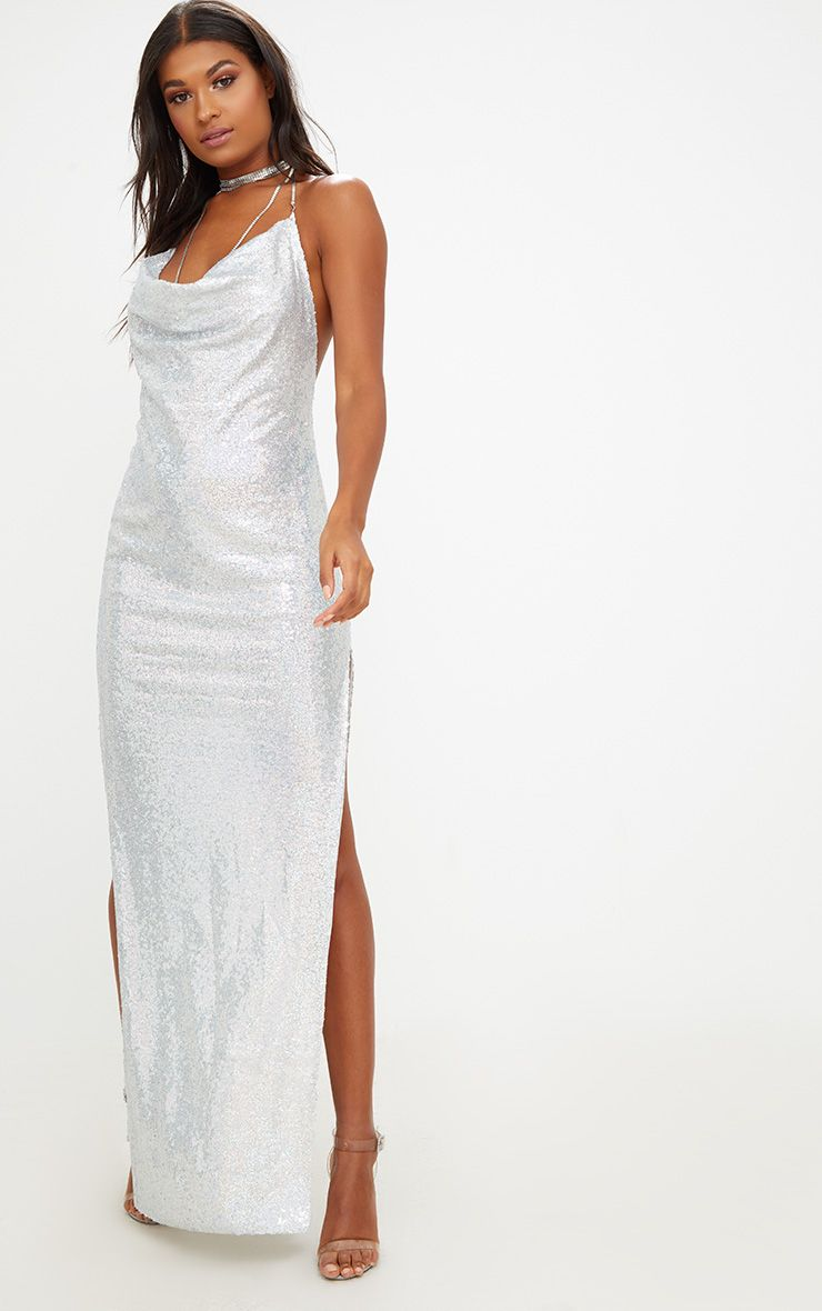 Silver Sequin Chain Choker Maxi Dress
