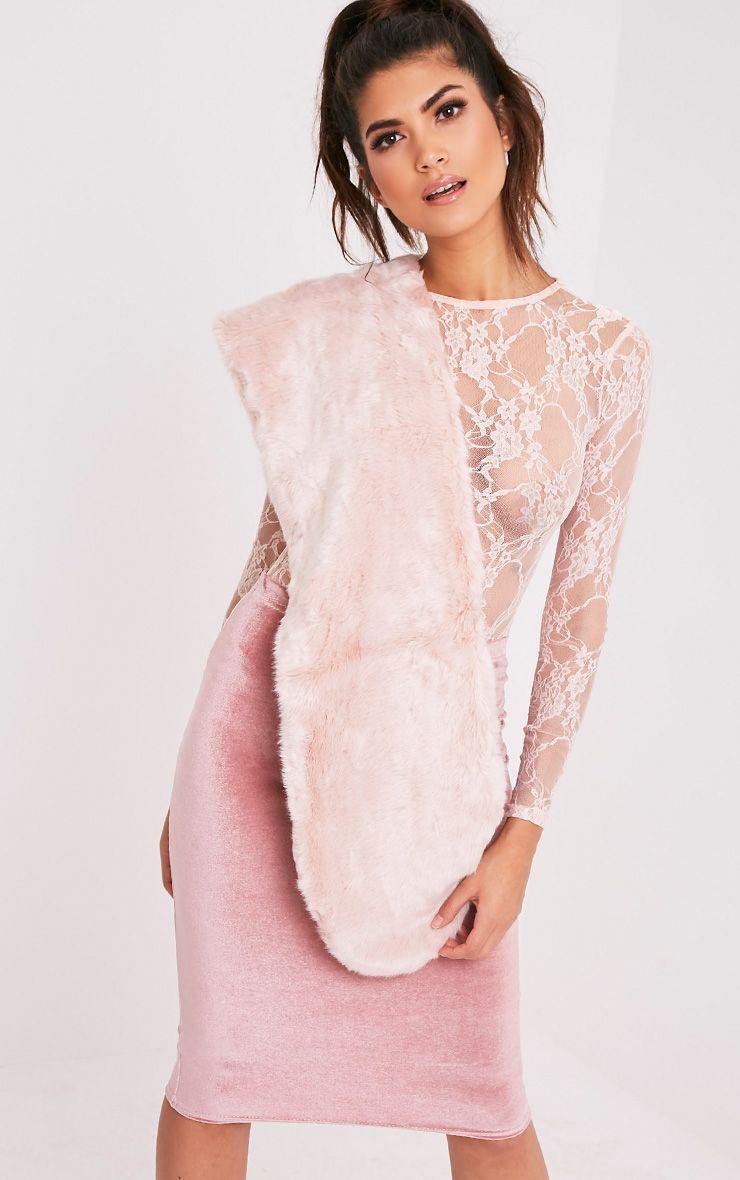 Senciah Blush Long Faux Fur Scarf