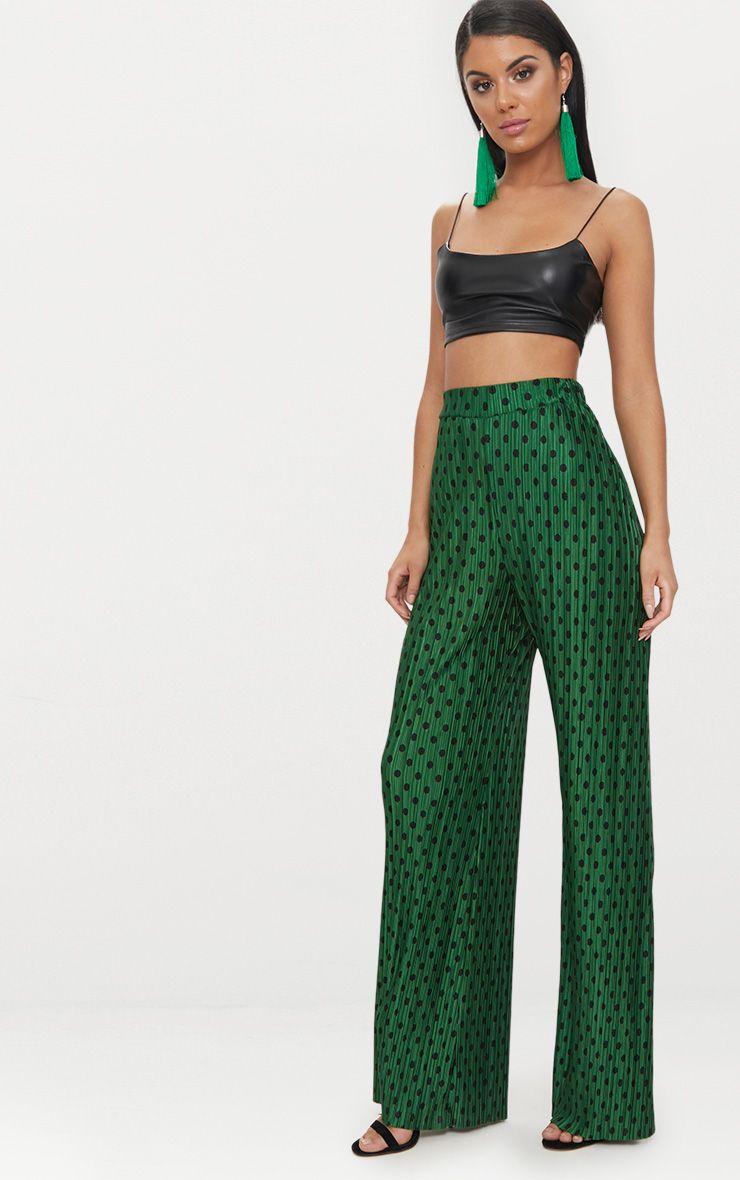 Green Polka Dot Plisse Wide Leg Trousers