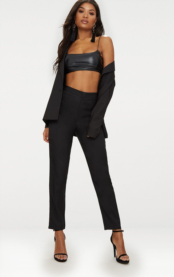 Black Straight Leg Tailored Trousers