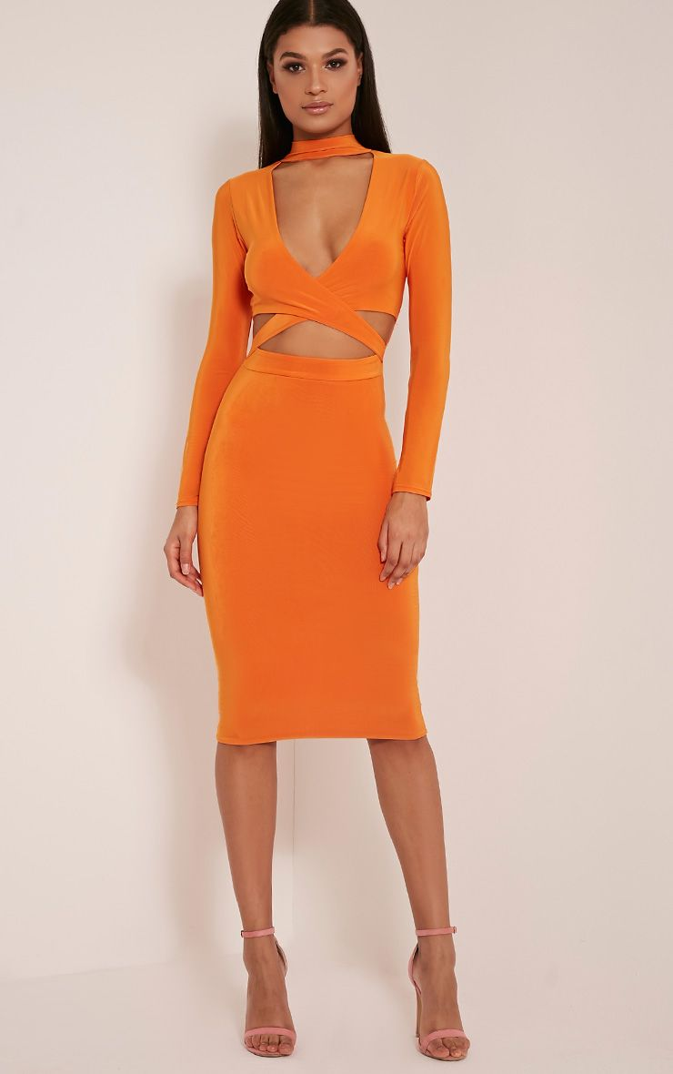 Nadeena Bright Orange Neck Detail Cut Out Midi Dress 1