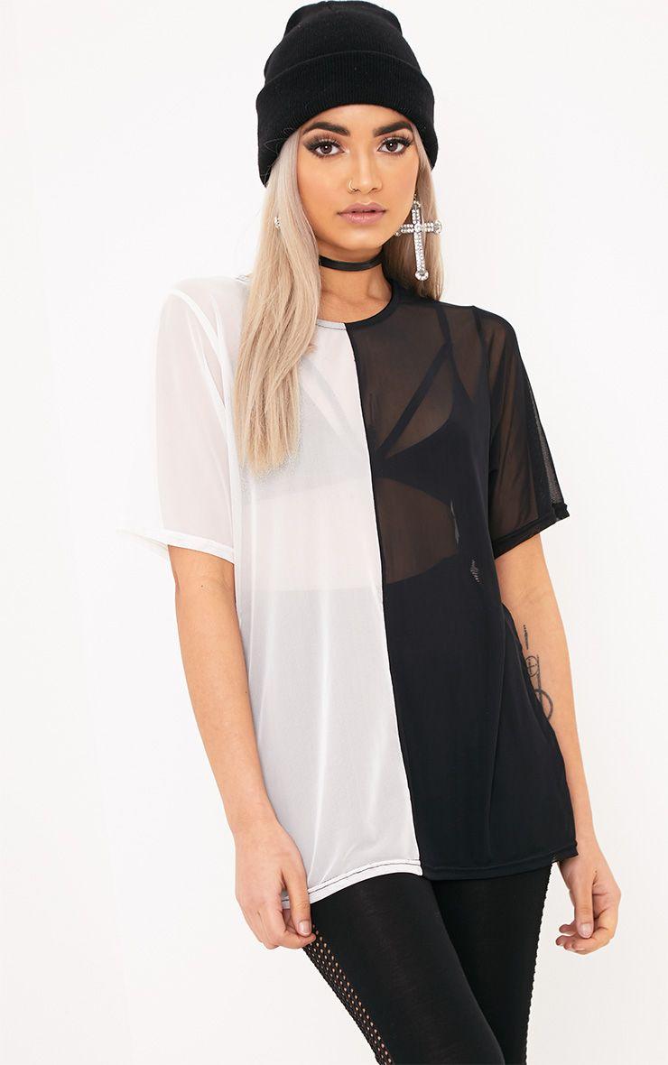 Madlyn Black/White Mesh Contrast T-Shirt