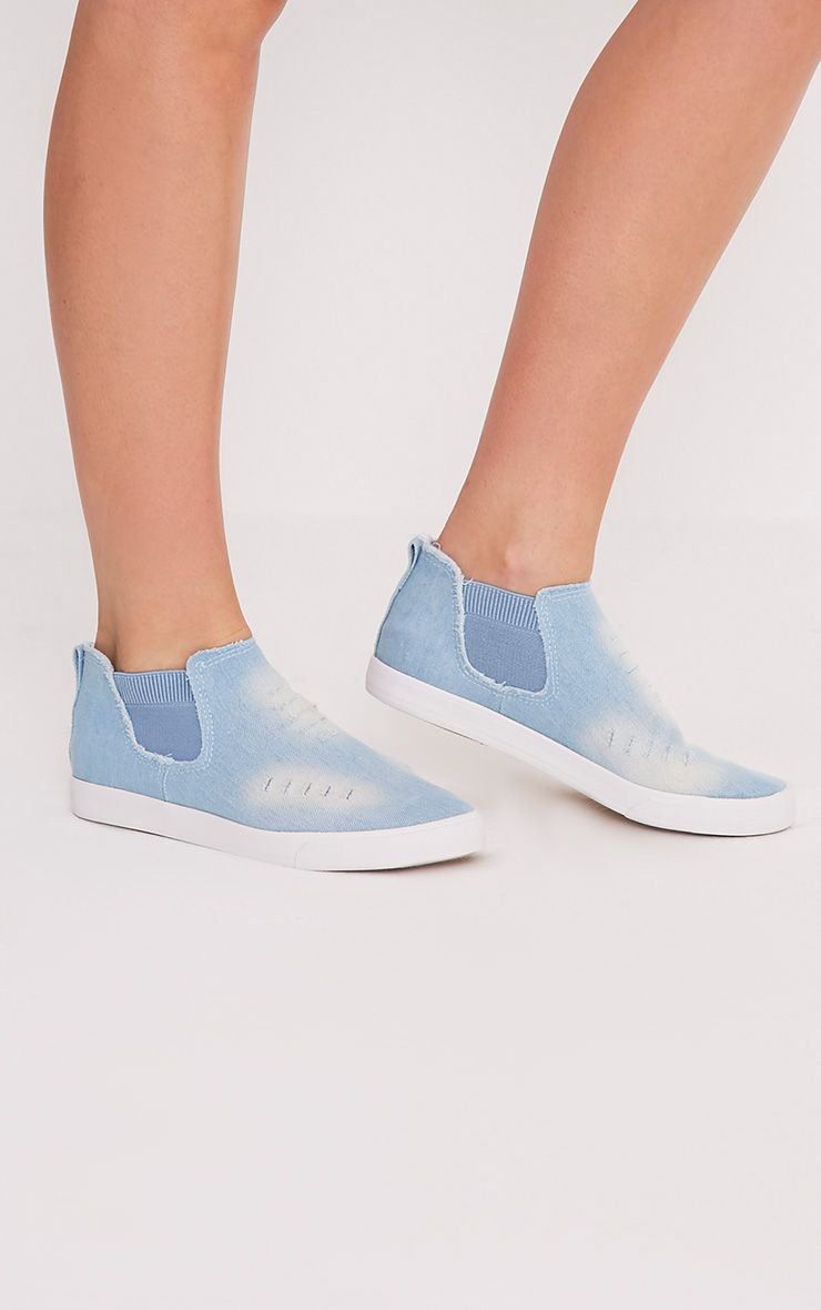 Gia Light Blue Wash Ripped Denim Slip on Trainers