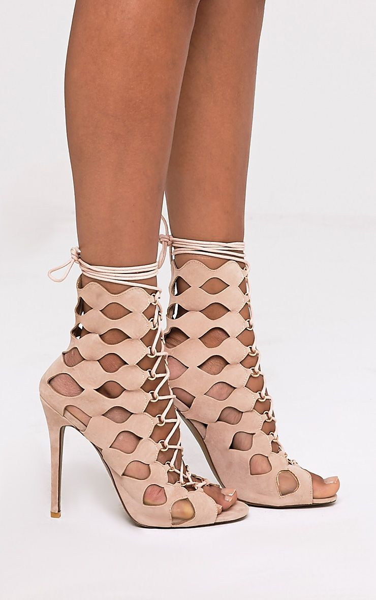 Chey Nude Geometric Cut Out Lace Up Heels 3