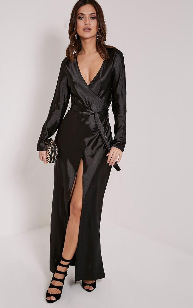 Aileen Black Wrap Front Tie Waist Maxi Dress 1
