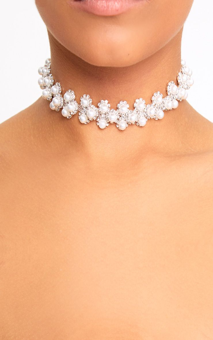 Silver Diamante & Pearl Choker