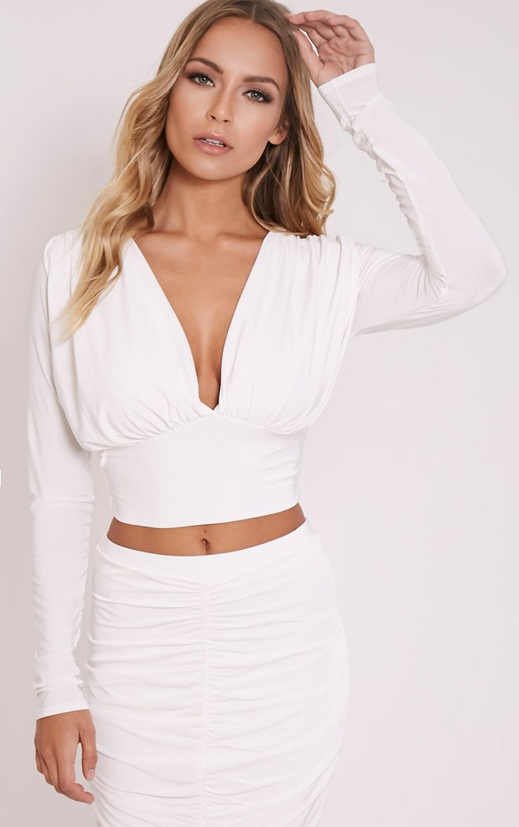 Nicole Cream Slinky Ruched Crop Top 1