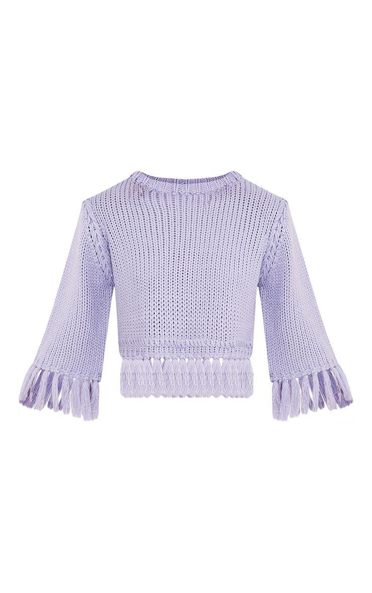 Shelia pull tricoté court à franges bleu cendré 3