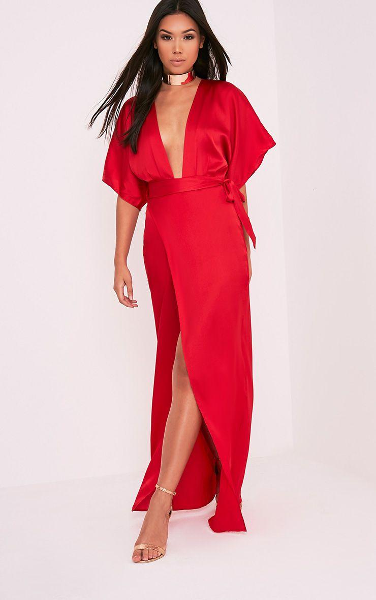 Kiara Red Silky Kimono Sleeve Maxi Dress 1