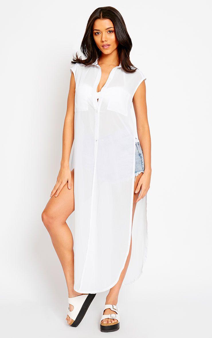 Cyndi White Cut Out Shirt Dress 1