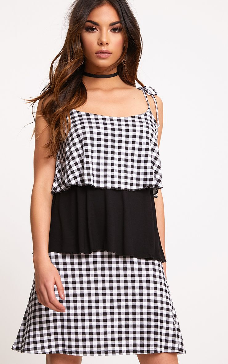 Black Gingham Colour Block Shift Dress